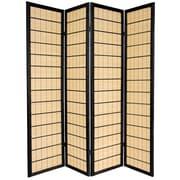 Oriental Furniture 72'' x 56'' Kimura Shoji 4 Panel Room Divider; Black