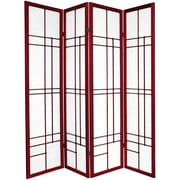 Oriental Furniture 70.25'' x 56'' Eudes Shoji 4 Panel Room Divider; Rosewood