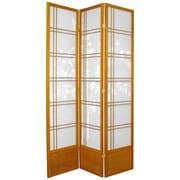 Oriental Furniture 83.5'' x 43'' Double Cross Shoji Bamboo Tree 3 Panel Room Divider; Honey
