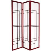 Oriental Furniture 70.25'' x 42'' Eudes Shoji 3 Panel Room Divider; Rosewood