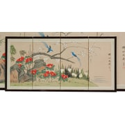 Oriental Furniture 18'' x 36'' Birds and Flowers 4 Panel Room Divider