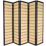 Oriental Furniture 72'' x 70'' Kimura Shoji 5 Panel Room Divider; Black