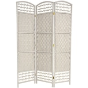 Oriental Furniture 67'' x 38'' Tall Fiber Weave 3 Panel Room Divider; White