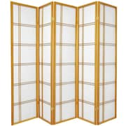 Oriental Furniture 70'' x 70'' Double Cross Shoji 5 Panel Room Divider; Honey