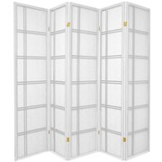 Oriental Furniture 70'' x 70'' Double Cross Shoji 5 Panel Room Divider; White