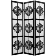 Oriental Furniture 72'' x 42'' Rosewood Long Life Shoji 3 Panel Room Divider; Black