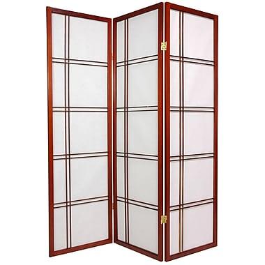 Oriental Furniture 60'' x 42'' Double Cross Shoji Screen 3 Panel Room Divider; Walnut