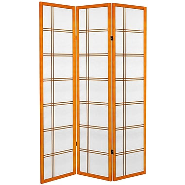 Oriental Furniture 71'' x 47.25'' Double Cross 3 Panel Room Divider; Honey