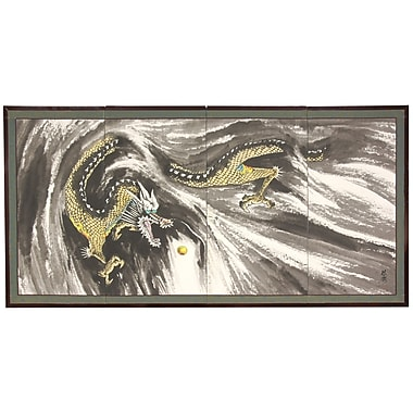 Oriental Furniture 24'' x 48'' Dragons In The Clouds 4 Panel Room Divider