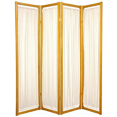 Oriental Furniture 72'' x 56'' Helsinki Shoji 4 Panel Room Divider; Honey