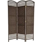Oriental Furniture 67'' x 38'' Tall Fiber Weave 3 Panel Room Divider; Dark Mocha