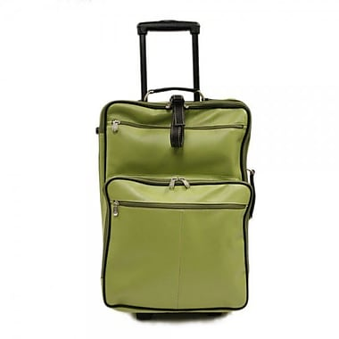 Piel Pastel Leather 22'' Wheeled Traveler Suitcase; Pastel Green w/ Chocolate Trim - CLOSEOUT!
