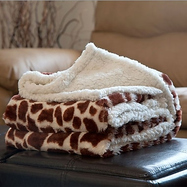 Lavish Home Fleece/Sherpa Animal Pattern Throw Blanket, Giraffe