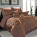 Lavish Home Galina Polyester 7 Piece Comforter Set, Queen, Bronze/Brown