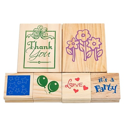 Trademark Games 6 Piece Wood Mounted Rubber Stamp Set 237832