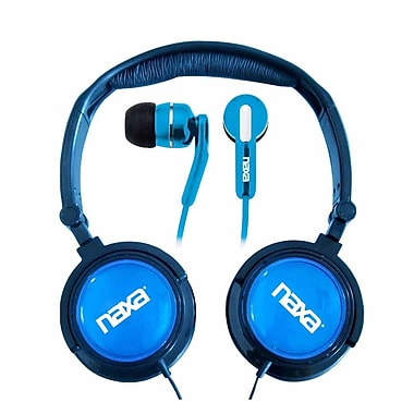 Naxa Super Bass NE-926BL 2-in-1 Stereo Headphone and Earphone, Blue