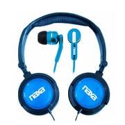 Naxa Super Bass NE-926BL 2-in-1 Stereo Headphone and Earphone, Blue