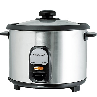 Brentwood 8 Cups Non-Stick Rice Cooker, Stainless Steel/Black