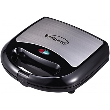 Brentwood 750 W Non-Stick Sandwich Maker, Black/Stainless Steel