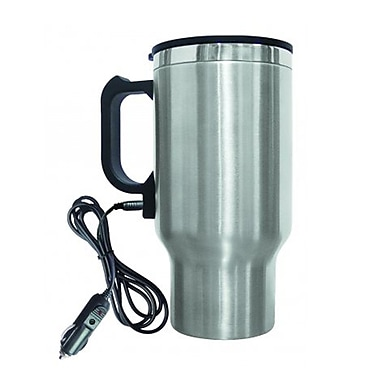 Brentwood® 16 oz. Electric Coffee Mug With Wire Car Plug, Silver