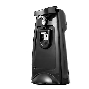 Brentwood® Can Opener With Chromed Built-in Bottle Opener & Knife Sharpener, Black