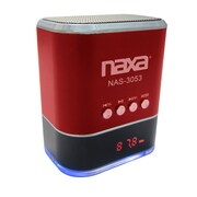 Naxa® NAS-3053 3 W Portable Speaker With USB/SD/MMC Inputs/FM Radio, Red