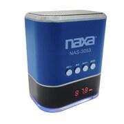 Naxa® NAS-3053 3 W Portable Speaker With USB/SD/MMC Inputs/FM Radio, Blue