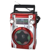 QFX CS-139 Karaoke Multimedia Speaker With AM/FM/SW1-2, Red