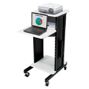 "Oklahoma Sound® Premium Audio Visual Presentation Cart, 40 1/2""H x 18""W x 30""D, Black/Ivory Wood"