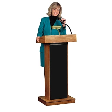 Oklahoma Sound® 46in.H x 22in.W x 17in.D MDF Orator Wireless Ready Sound Lectern, Mahogany