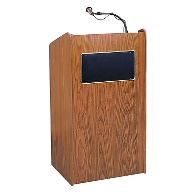 Oklahoma Sound Aristocrat Floor Lectern with Speakers Amplifier & Wireless Mic