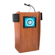 """Oklahoma Sound® 46""""H x 24""""W x 21""""D MDF Vision Floor Lectern With LCD Screen and Sound, Cherry"""