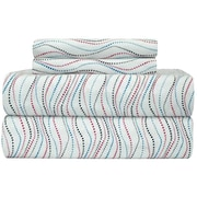 Pointehaven Heavy Weight Metro Printed Flannel Sheet Set; Queen