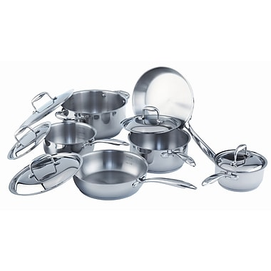 Paderno Epicurean 11-Piece Cookware Set, Stainless Steel
