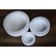 Timbergirl 3 Piece Acacia Wood Bowl Set; White Distressed