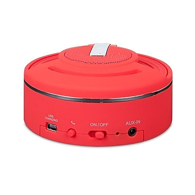 i.Sound Hang On Rechargeable Bluetooth Speaker and Speakerphone, Red