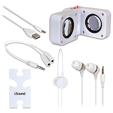 i.Sound ISOUND-1614 5-in-1 Travel Sound Speakers, White