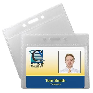 C-Line® Horizontal ID Badge Holders, 12/Pack