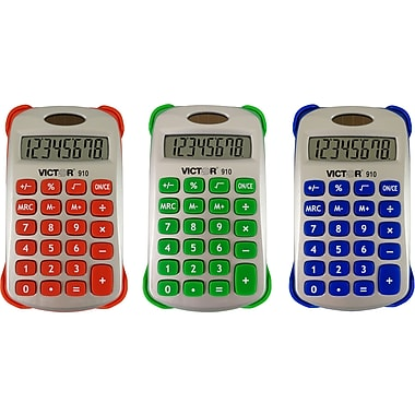 Victor® 8 Digit Handheld Calculator With Cover, Assorted