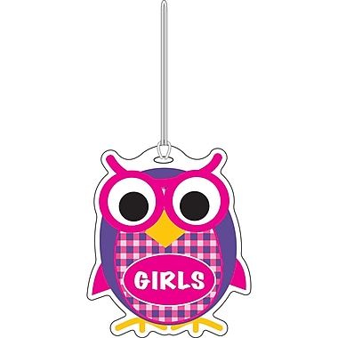 Ashley 3 3/4in. Rubber Colorful Owl Girls Hall Pass With Strap