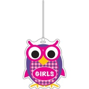 "Ashley 3 3/4"" Rubber Colorful Owl Girls Hall Pass With Strap"