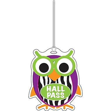 Ashley 3 3/4in. Rubber Colorful Owl Hall Pass With Strap