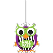 "Ashley 3 3/4"" Rubber Colorful Owl Hall Pass With Strap"