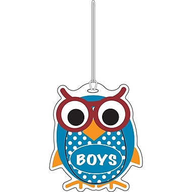 Ashley 3 3/4in. Rubber Colorful Owl Boys Hall Pass With Strap