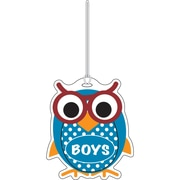 "Ashley 3 3/4"" Rubber Colorful Owl Boys Hall Pass With Strap"