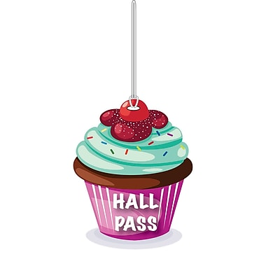 Ashley 4in. Soft Rubber Cupcake Hall Pass With Wrist Strap