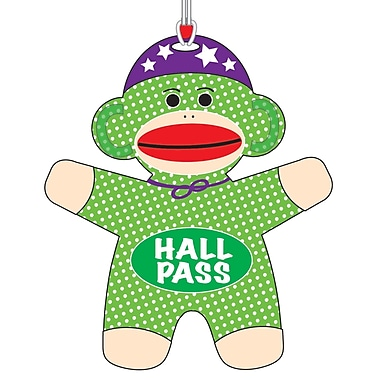 Ashley 3 3/4in. Flexible Rubber Sock Monkey Hall Pass With Strap