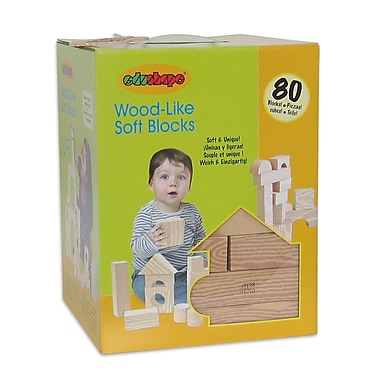 Edushape® Wood Like Soft Blocks, 80/Set