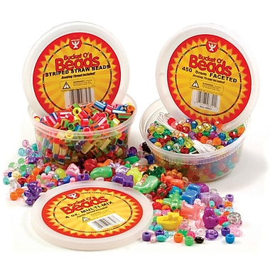 Hygloss HYG6806 Assorted Vivid Multi-Mix Bucket O'Beads, 10 oz, 60 Charms