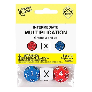 Koplow Games Intermediate Multiplication Dice, 3/Pack